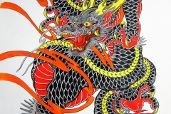 Black and red dragon painting